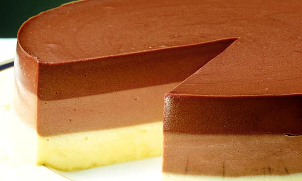 Sobremesa tricolor de chocolate