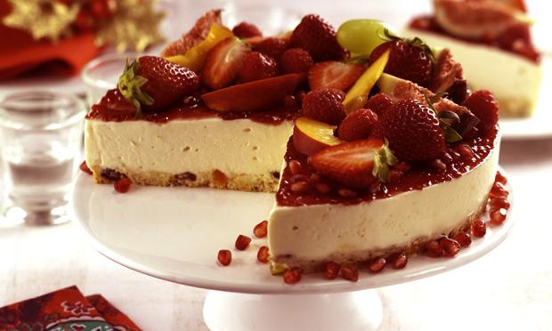 Torta gelada de panetone e frutas (Cheesecake)