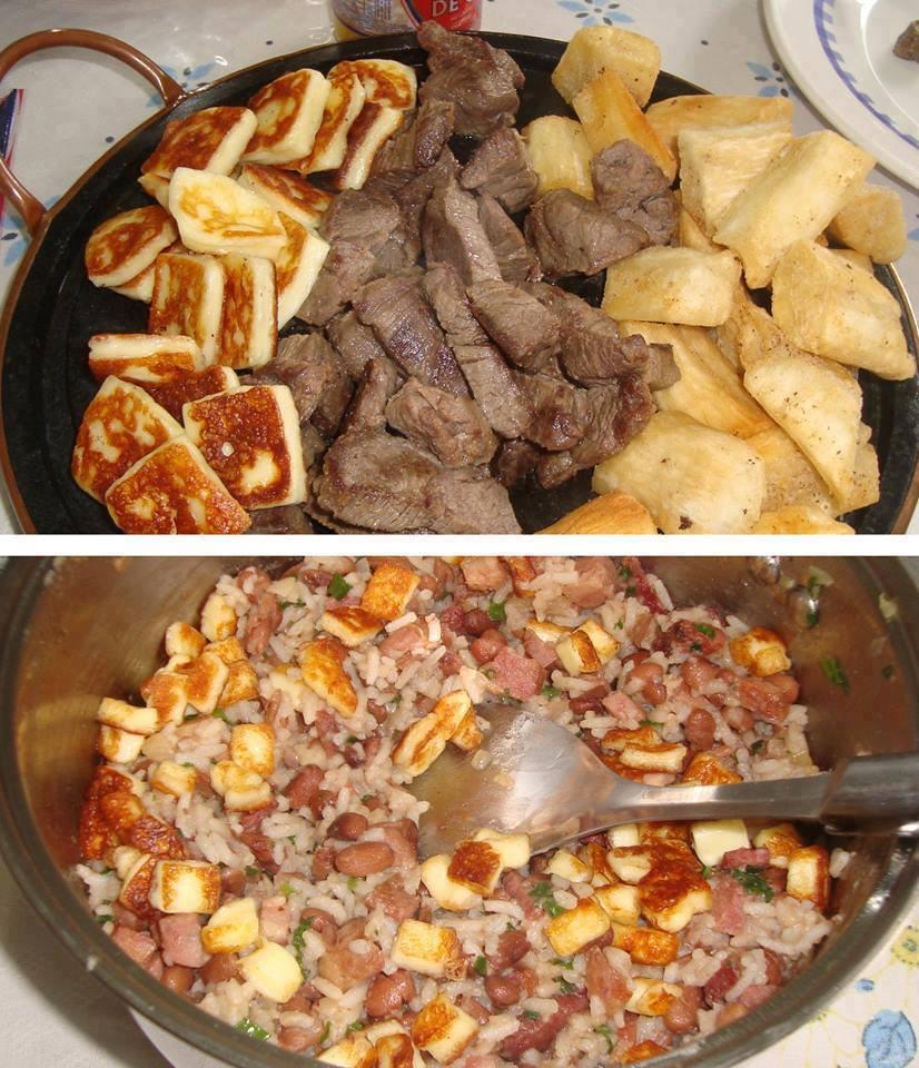 Baião de dois com carne de sol, aipim e queijo coalho frio