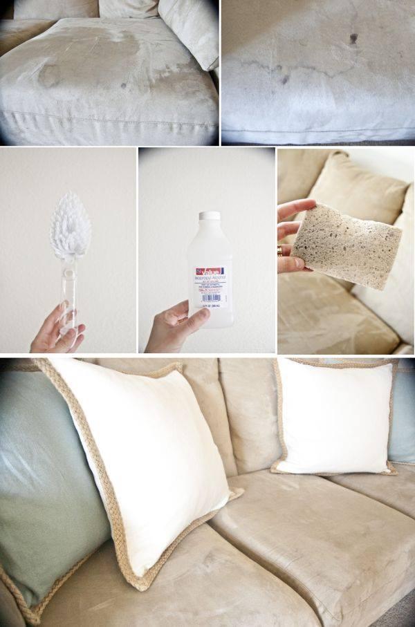 Limpando o sofá com álcool