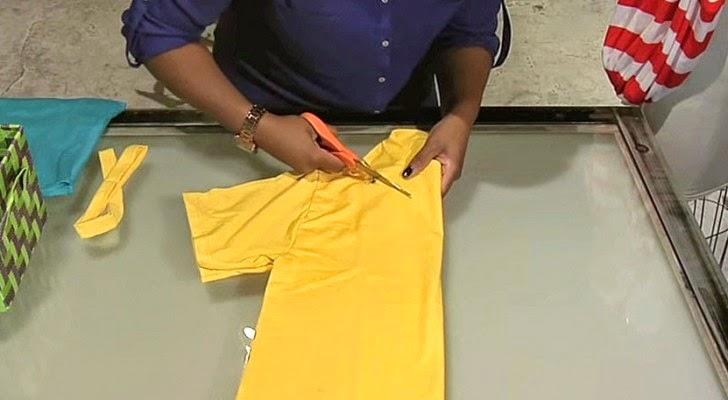 Comece Cortando Uma Camisa Velha E Em 2 Minutos Tenha Um Acessório Brilhante!