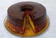 Bolo de Cenoura com Pudim de Chocolate