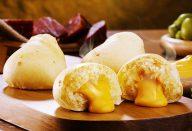 Pão de queijo recheado com cheddar