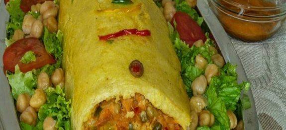ROCAMBOLE DE BATATA (recheio de bacalhau e cream cheese)
