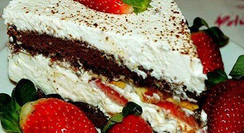 Torta Italiana de Morango e Chocolate