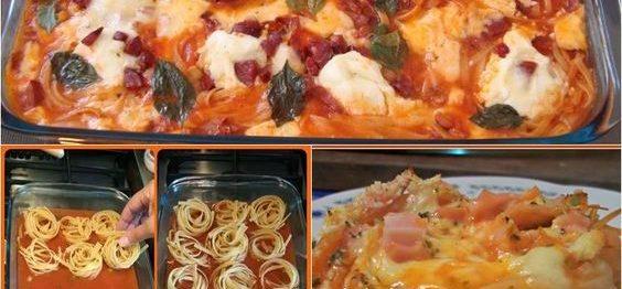 Espaguete cremoso com uma panela