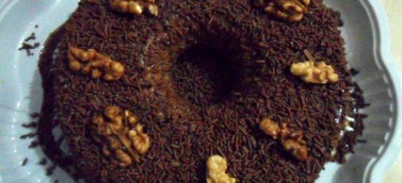 Pudim de Chocolate com Nozes
