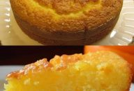 bolo de fuba com suco de laranja